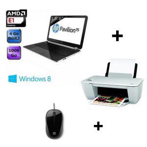 """Pack PC portable HP 15-n034sf 15.6"""" + imprimante HP Deskjet 2542 + souris optique (avec ODR 100€)"""