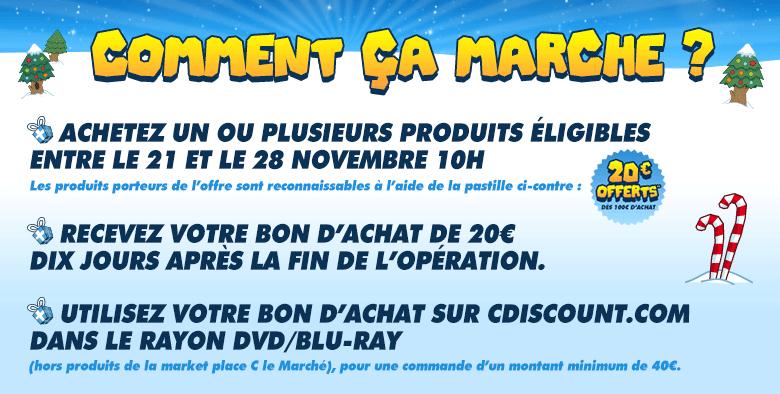 20€ offert en bon d'achat (valable dès 40€ dans le rayon DVD / Blu-ray) dès 100€ d'achats sur les coffrets DVD / Blu-ray