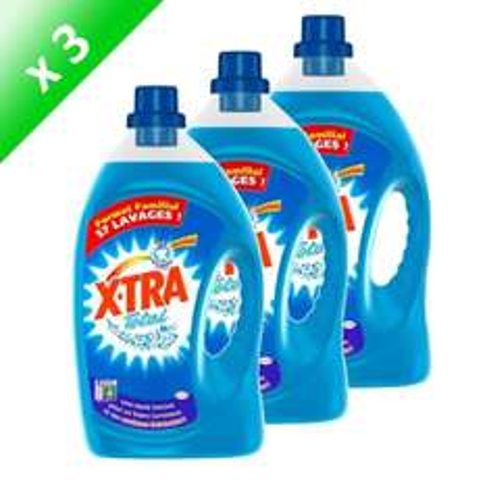 3 bidons de 43 lavages de lessive X-TRA