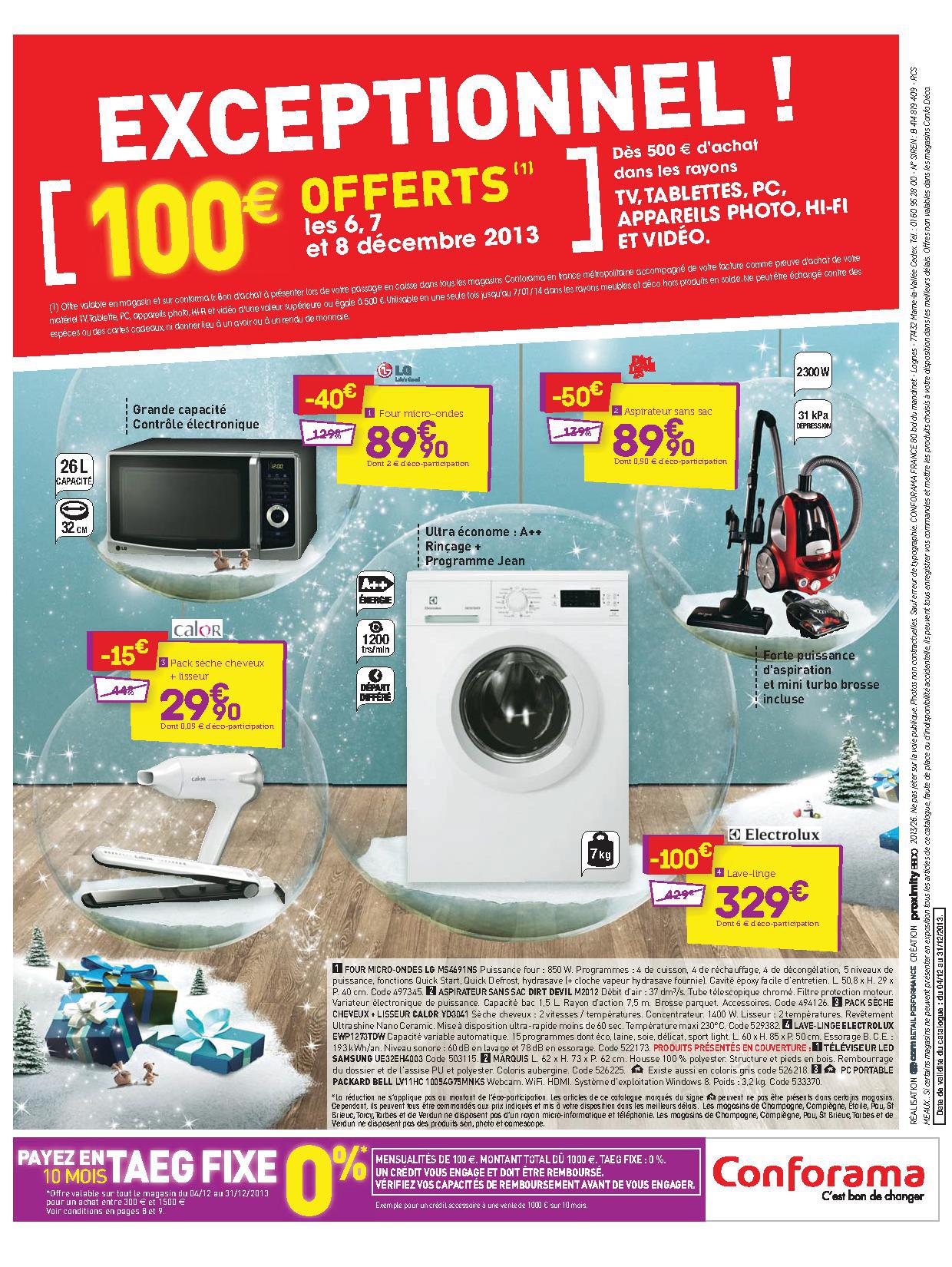 100€ de bon d'achat dès 500€ d'achat sur les rayons TV, PC, appareil photo, Hifi...