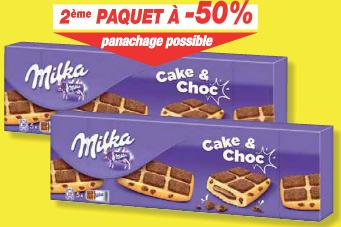 2 paquets de gateaux Milka Cake et Choc