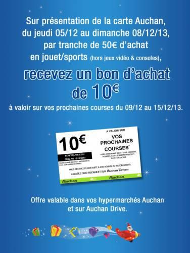 Bon d'achat de 10€ offert par tranche de 50€ d'achats en jouets ou sport