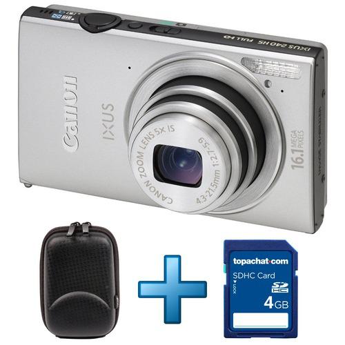 Canon Ixus 240 HS Argent + Housse + Carte SDHC 4 Go