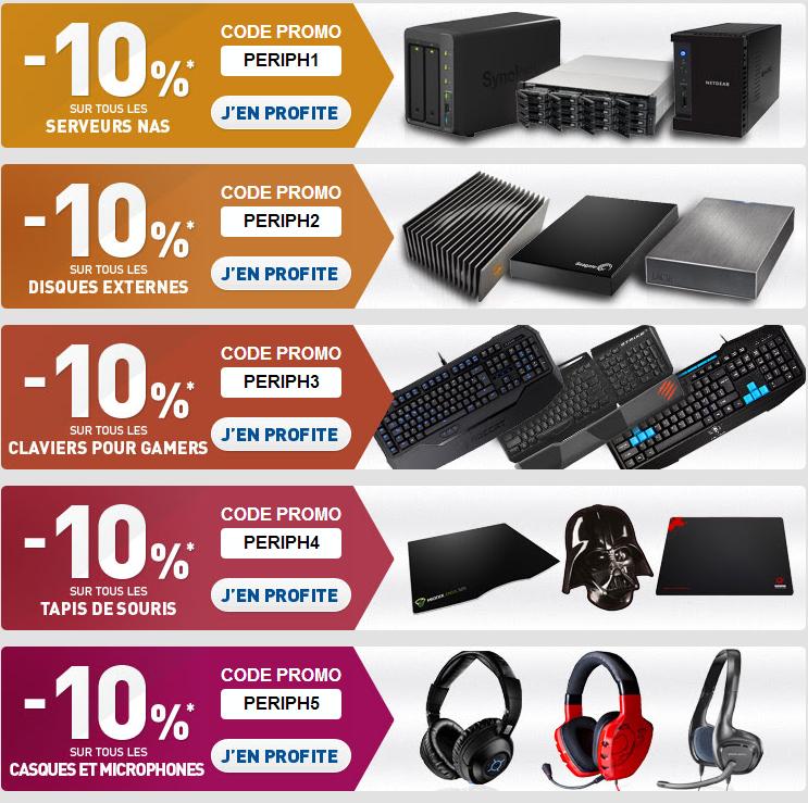 -10% sur les NAS, disques externes, claviers gamers, tapis souris et casques/micro