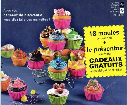 Moules à cupcakes + présentoirs offert pour toute commande, et livraison gratuite dès 2 articles achetés