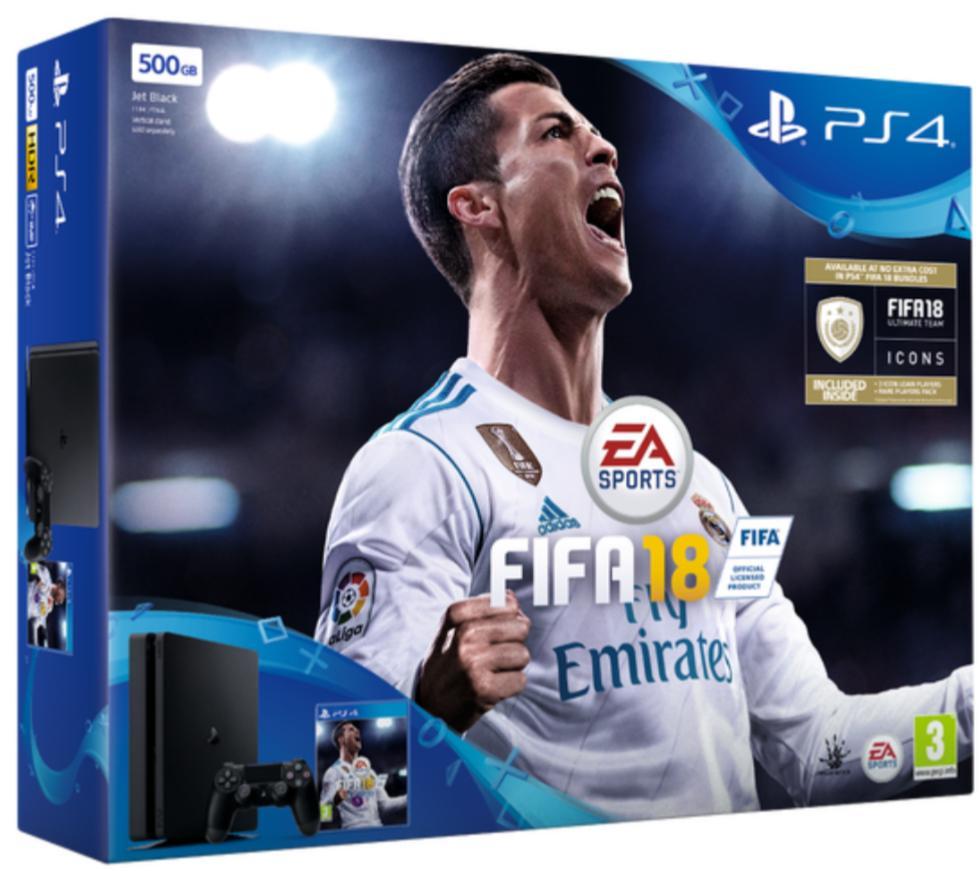 Sélection de Pack PS4 + Fifa 18 en promotion - Ex : Pack Console Sony PS4 Slim 500Go + Fifa 18 + 2e manette PS4