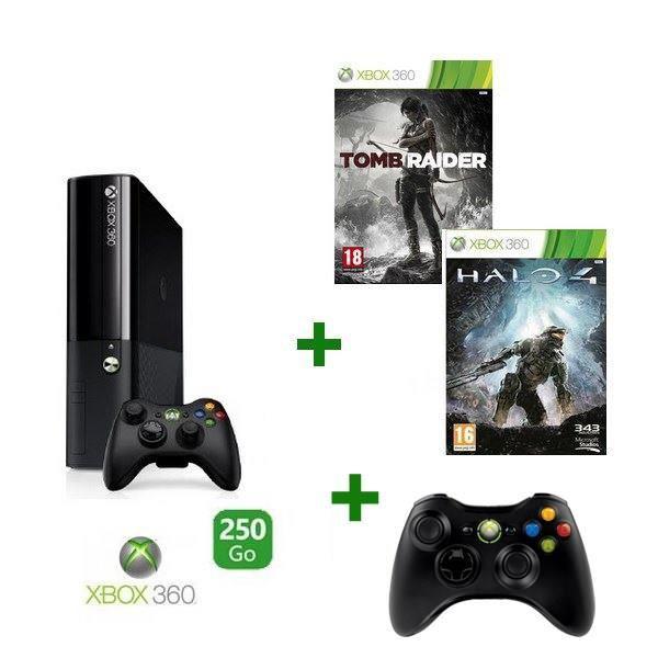 Console Xbox 360 - 250 Go + halo 4 + tomb raider + 2 manettes