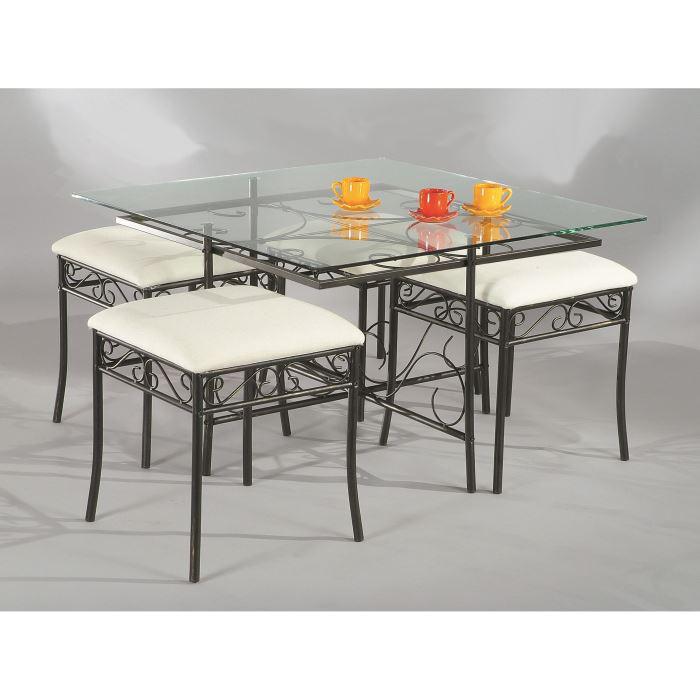 Table verre trempé + 4 poufs
