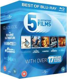 Coffret Blu-Ray : Gladiator / La Vengeance dans la peau / Wanted / Fast and Furious 4 / La Momie : La Tombe de l'empereur Dragon