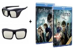 Kit 2 paires de lunettes Sony 3D active + 2 Blu-ray Harry Potter Episode 7A et 7B + 2 films Harry Potter à télécharger