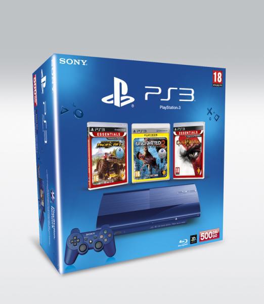 PS3 Ultra Slim 500 Go - Motorstorm Pacific Rift + Uncharted 2 + God of War 3 Essentials