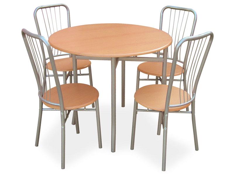 Table ronde + 4 chaises Moulin (coloris hêtre)