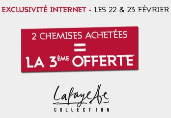 2 Chemises Lafayette Collection achetées = la 3ème offerte, soit les 3