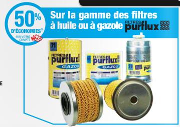 -50% sur votre compte fidélité sur les filtres à huile ou à gazole Purflux