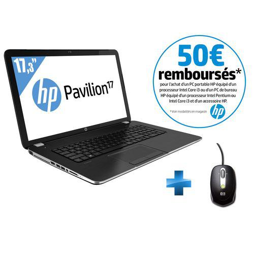 PC Portable 17,3'' HP Pavilion 17-E108SF - i3-3110M (2,4 GHz) - 500 Go - RAM 4 Go + Souris filaire HP (Avec ODR de 50€)