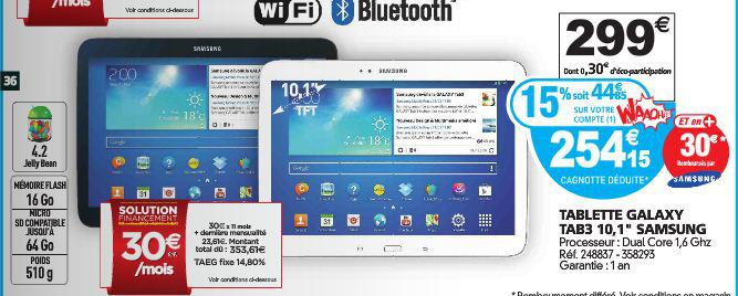 """Tablette Samsung Galaxy Tab 3 - 10'1"""" (15% sur carte waooh + ODR 30€)"""