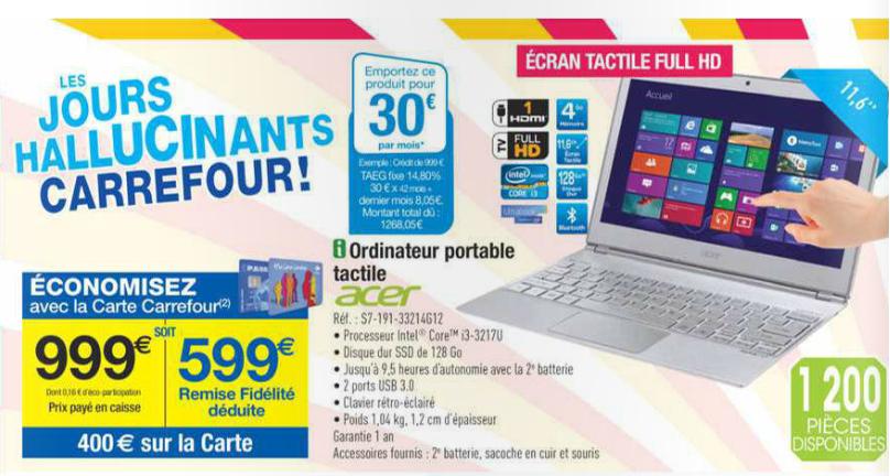 """Ultrabook 11,6"""" Tactile Acer S7-191 33214G12 - Core i3 - SSD 128Go - Full HD (400€ crédité sur carte)"""