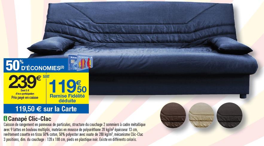 Canapé Clic-Clac (50% de remise fidélité) en magasin et en ligne