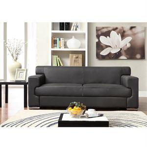 Canapé 3 places en cuir de buffle noir