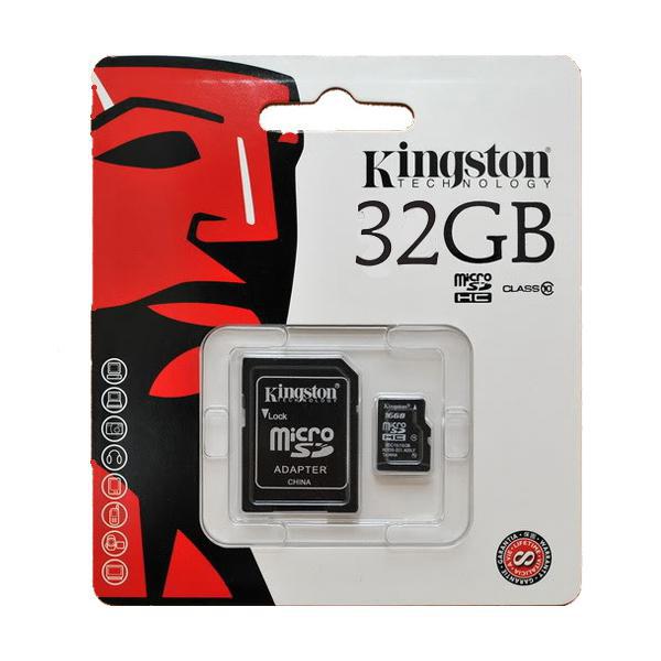 Carte Mémoire Kingston microSDHC 32GO Classe 10 +Adaptateur SD