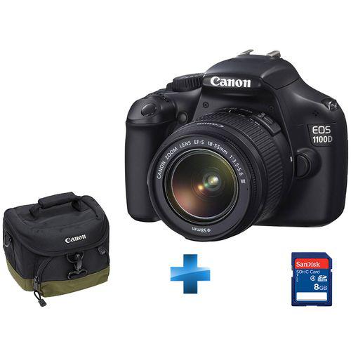 Pack Reflex Canon EOS 1100D + Optique Stabilisée EF-S 18-55mm IS II + Fourre-tout Canon + SDHC - 8 Go