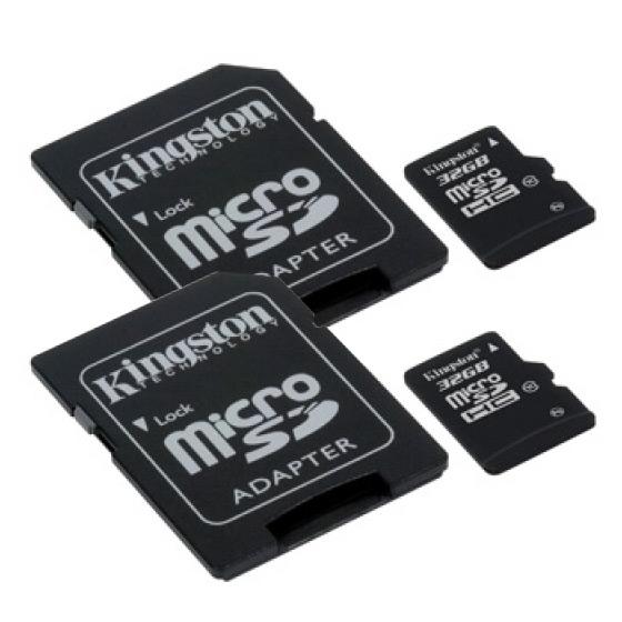 Pack de 2 cartes Micro SDHC Class 10 Kingston 32 Go + Adaptateur SD