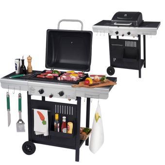 Barbecue Wilsa Garden à gaz 2 feux grill et plancha