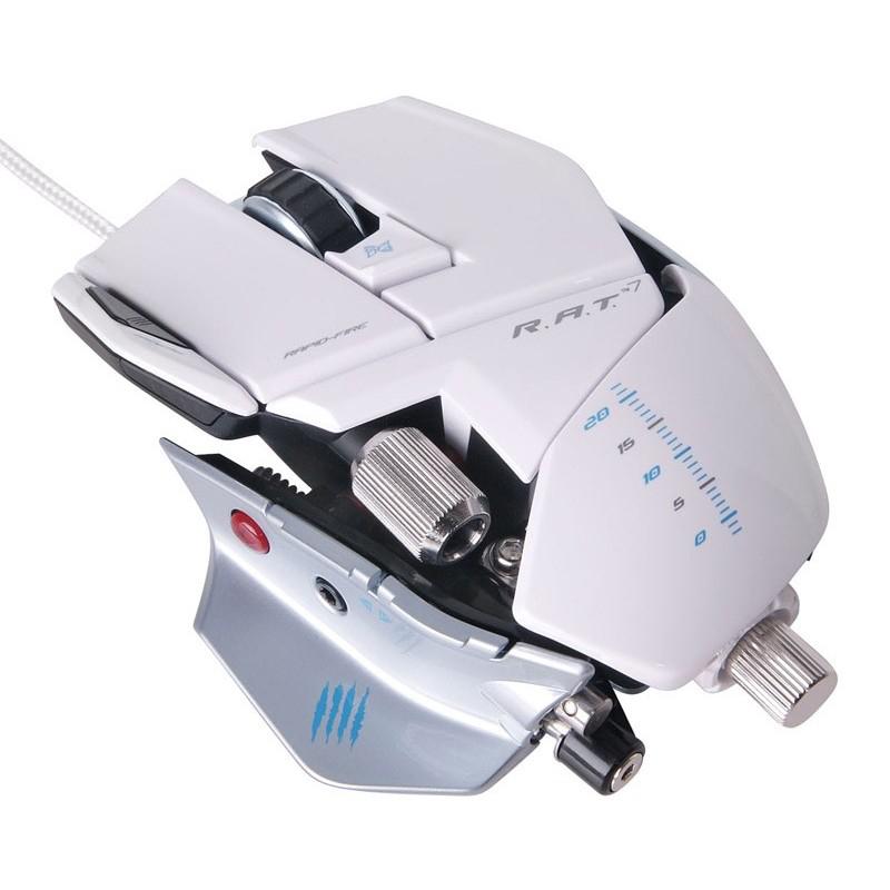 Souris Filaire Gaming pour PC et MAC Mad Catz R.A.T.7 - Blanc