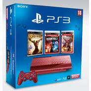 Pack PS3 Ultra Slim 500Go Red  + 2 manettes + 4 Jeux : God of War, Infamous 2, Uncharted 3 et Call of Duty: Ghosts