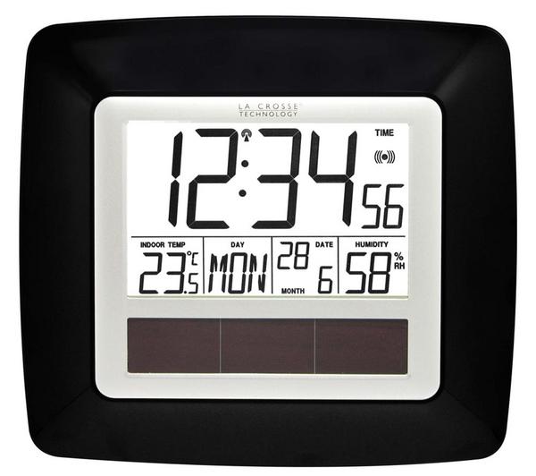 Horloge murale à alimentation solaire La Crosse WS8112BLA-SIL