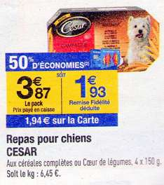 [A partir du 22 Avril] César 4x150g (50% sur carte + bon de réduction)