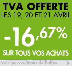 -16.67% sur le site et en magasin dès 50€ d'achats (y compris sur les promotions)