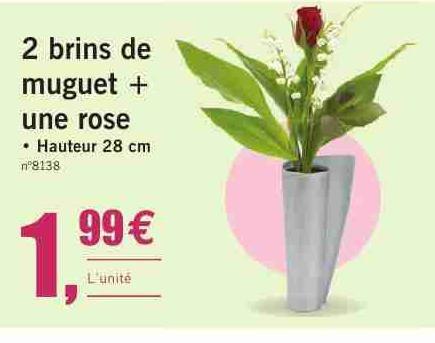 2 brins de muguet + une rose