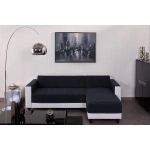 Canapé d'angle réversible bi-matière Firr - Blanc/Gris