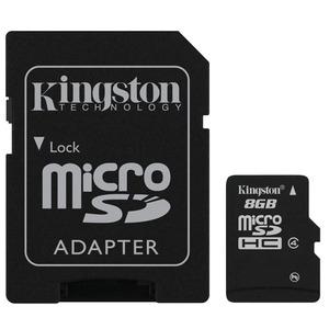 Carte mémoire Micro SD Kingston 8go Class 4 + Adaptateur SD