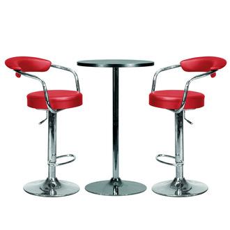 Table de bar + 2 tabourets Gil - Rouge