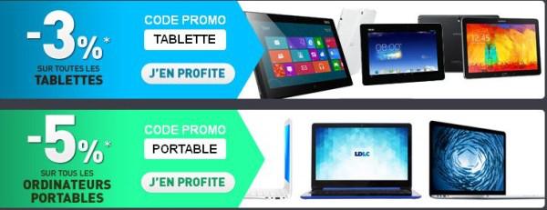 5% de remise immédiate sur les PC portables, 3% sur les Tablettes