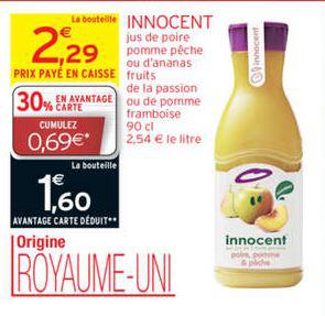 Jus Innocent 900ml via Shopmium et carte de fidélité