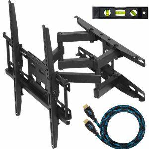 """Support TV à bras d'extention articulés pour écran plat de 20"""" à 55"""" + Câble HDMI tressé 3m + Niveau à bulles"""