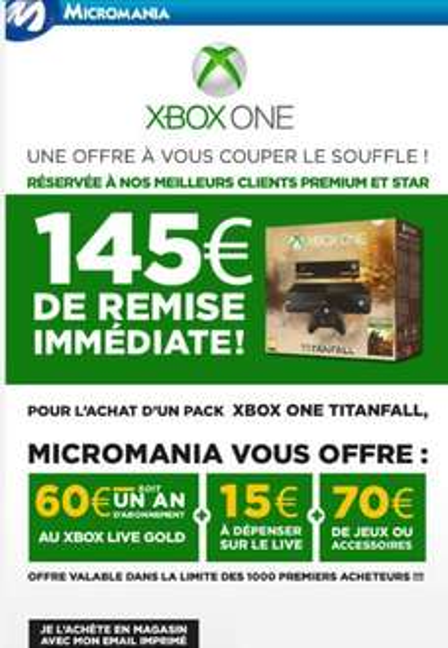 [Clients Premium/Star] Pack Console Xbox One + TitanFall + 145€ d'avantages