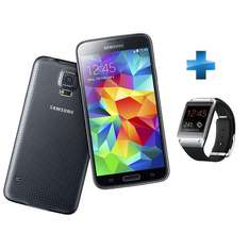 Smartphone Samsung Galaxy S5 Noir 16 Go + Montre Connectée Galaxy Gear Noire