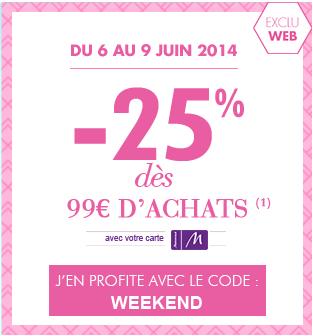 -25% de réduction sur tout le site dès 99€ d'achats