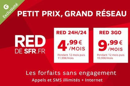 Offre Forfait SFR RED 24H/24 à 4.99€/mois pendant 12 mois et RED 3 Go