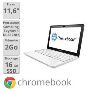 "PC portable 11.6"" HP Chromebook 11-1126FR -  Exynos 5 Dual 1.7 GHz, 2 Go RAM, 16 Go SSD"