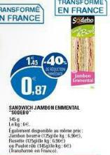 Lot de 2 sandwichs Sodebo