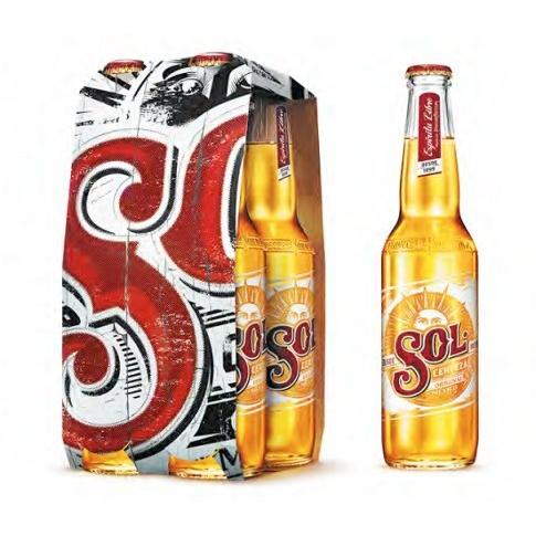 Pack de bières blondes Sol 4x33CL gratuit + gain (au lieu de 5.69€)