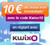 10€ de réduction immédiate sur tout le site dès 10€ d'achat en payant via Kwixo