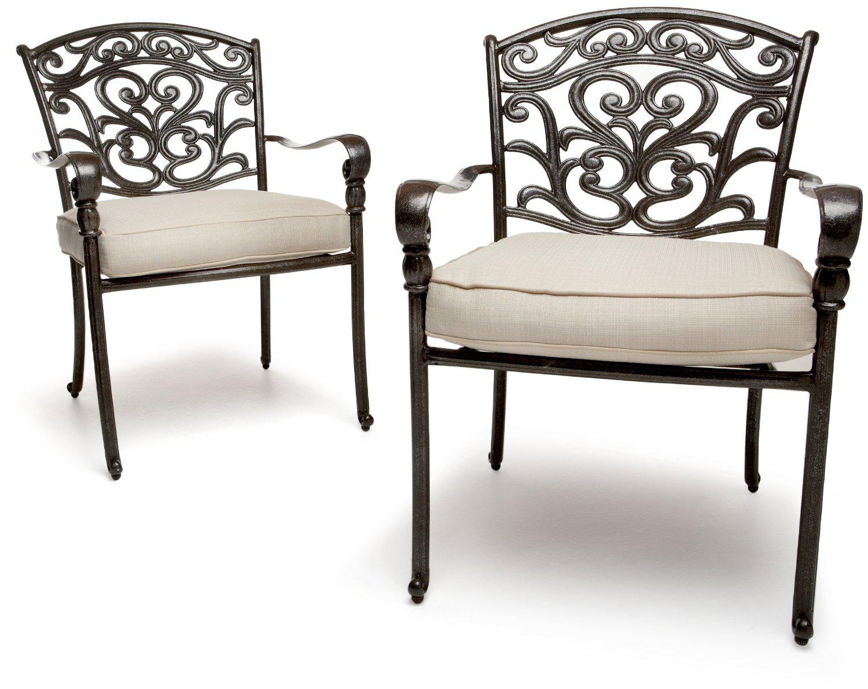 Set de 2 fauteuils de jardin St. Thomas en fonte d'aluminium