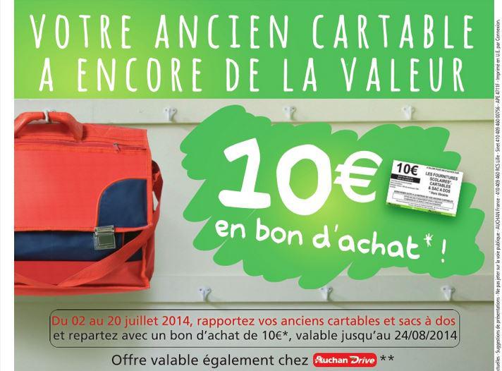 Bon d'achat de 10€ (valable dès 50€ d'achat sur les fournitures scolaires...) offert en l'échange d'un vieux cartable ou sac a dos