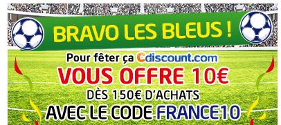 10€ de réduction dès 150€ d'achats sur tout le site dont carte kdos